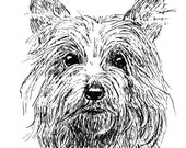 Cute Terrier Ink Drawing Embellished MiniPrint