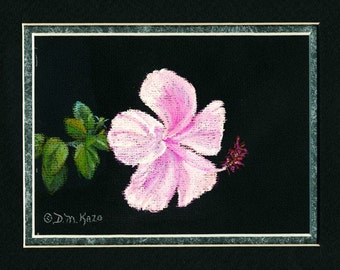 Pink Hibiscus Flower Original Pastel Painting