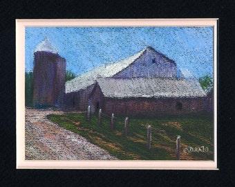 Quebec Barn in Summer Original Pastel Painting