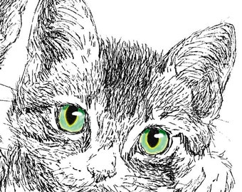 Kittens Three Ink Drawing Embellished MiniPrint