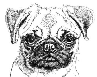 Pug Puppy Ink Drawing Embellished MiniPrint