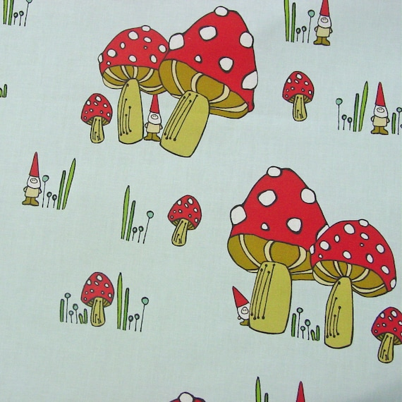 "Spoonflower Cotton Fabric - Fat Quarter - My Fabric Design - ""SCATTERED GNOMES"" Toadstools - Red Cap Mushrooms"