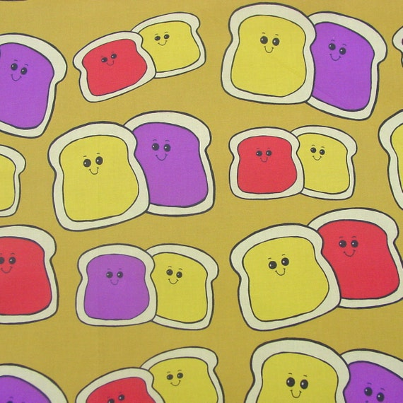 Sale - Peanut Butter Jelly Spoonflower Cotton Fabric - Fat Quarter