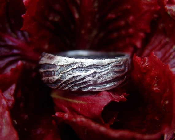 Inside Out, mens handmade silver ring