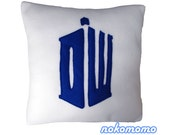 SALE TARDIS Inspired Pillow - White - Closing Sale