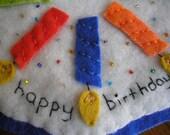 Happy Birthday Wool Felt Candle Mat