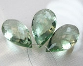 Green Amethyst Pear Briolettes ,Trio,AAA, Micro Faceted, 19.75-21.25mm