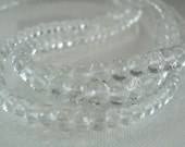 Sale -Rock Crystal Rondelles AAA Micro Faceted Crystal Gemstone Beads Rondels 3-5mm, 8 Inches