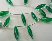 Sale -Green Onyx Dewdrop Briolettes AAA Green Onyx Micro Faceted Beads 19-21mm
