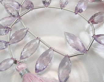 Pink Amethyst Dewdrop Briolettes  AAA Pink Amethyst Beads 10-14mm