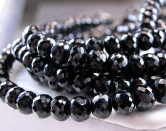 Black Spinel Rondelles AAA Micro Faceted Black Spinel Gemstone Beads 3-5mm