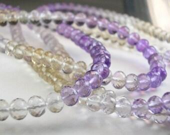 Sale -Ametrine Rondelles AAA Micro Faceted Ametrine Beads Gemstone Rondels4.5-5mm, 8 inches