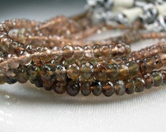 Andalusite Rondelles  Micro Faceted AAA Andalusite  Gemstone Beads Rondels 3-4.5 mm
