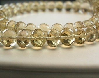 Sale -Champagne Citrine  Rondelles AAA Gemstone Beads Micro Faceted Roundels  5.5-6.5mm