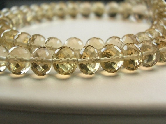 Champagne Citrine , Rondelles, AAA,  Micro Faceted,  Large , 5 - 6mm