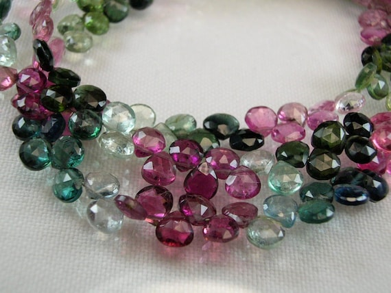 Tourmanline Heart Briolettes Last Set,AAA, Micro Faceted