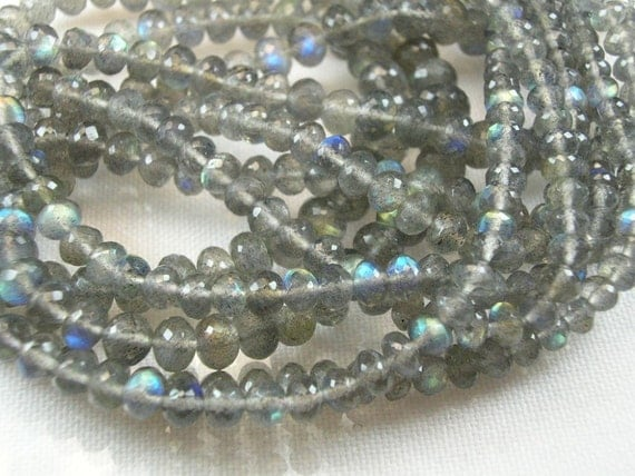 Labradorite,  Rondelles,  AAA,  Micro Faceted, 3-5mm, 8 inches