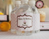 Water Bottle Labels - Birthday Party Decorations - Pink & Brown Cupcake Theme (12)