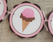 HAPPY BIRTHDAY Banner - Ice Cream Cone  Pink and Brown ice cream theme party package first birthday banner
