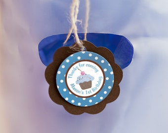 Lil Cupcake FAVOR TAGS - Cupcake Theme Happy Birthday Party Decorations in Blue and Brown