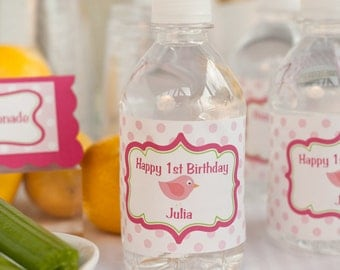 Pink Bird Water Bottle Labels - Birthday Party Decorations - Lil Birdie Theme in Hot Pink & Lime Green (12)