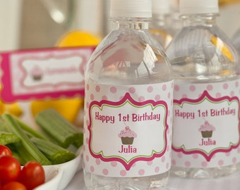 Water Bottle Labels - Birthday Party Decorations - Lil Cupcake Theme in Hot Pink & Lime Green (12)