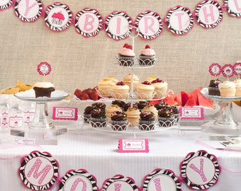 Zebra HAPPY BIRTHDAY Banner - Pink Zebra Cupcake Theme Birthday Party Decorations - Happy Birthday Banner
