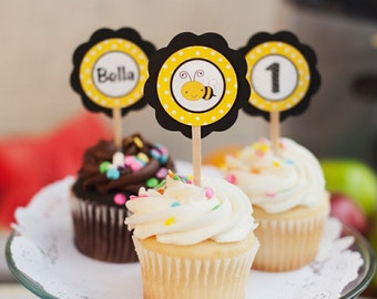 CUPCAKE TOPPERS - Bee Themed Happy Birthday Party Decorations - Happy Bee Day in Yellow and Black