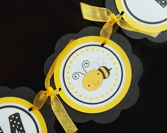 Bee Birthday Party Decorations - I am 1 MINI BANNER - Yellow and Black Happy Birthday Party Sign