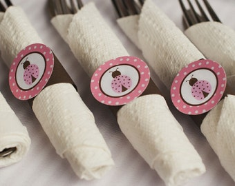 Napkin Rings - Silverware Wraps - Ladybug Theme - Happy Birthday Party and Baby Shower Decorations in Brown & Pink (12)