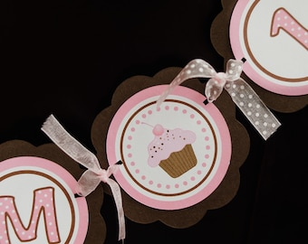 Cupcake Theme I AM 1 MINI BANNER  - Happy First Birthday Party Decorations in Pink and Brown