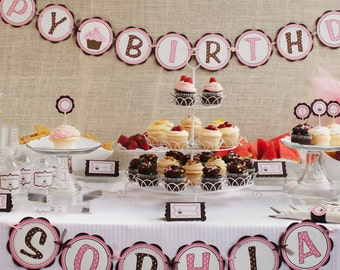 "First Birthday Banner - Cupcake ""Happy Birthday"" Banner - Girls First Birthday Decorations"