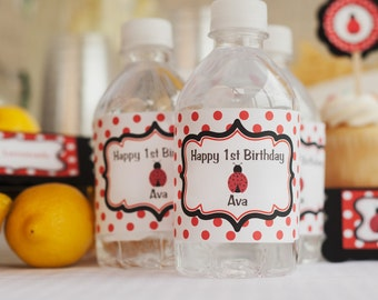 Water Bottle Labels - Birthday Party Decorations - Ladybug Theme in Red & Black (12)