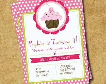 Cupcake Birthday Party Invite - Hot Pink & Green Cupcake Invitation - Digital Printable Invite