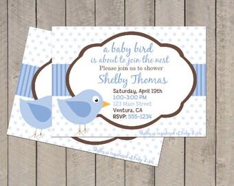 Birdie Baby Shower Invitation - Blue & Brown Bird Invite - Digital Printable Invite