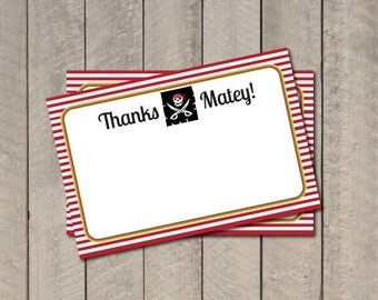 Pirate Thank You Note - Pirate Theme Thank You Card - Digital Printable Thank You - Instant Download