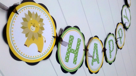 HAPPY BIRTHDAY Banner - King of the Jungle Themed Party Decorations, Jungle Birthday Party - Brown, Yellow, Green