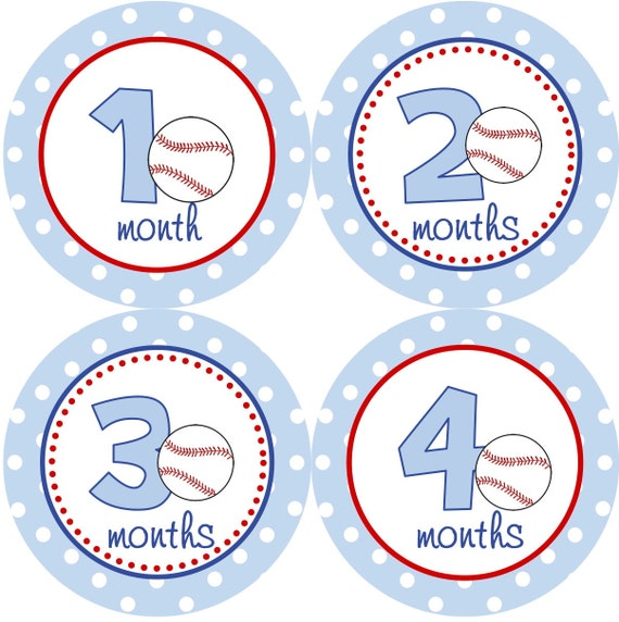 Baby Month Stickers Boy Monthly Onesie Stickers Blue and Red Baseball Sports Month Stickers Boy Baby Shower Gift and Photo Prop Logan