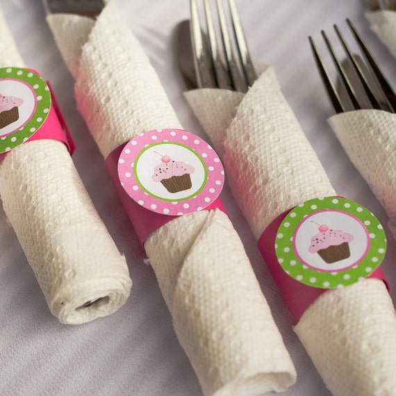 Napkin Rings - Silverware Wraps - Cupcake Theme - Happy Birthday Party and Baby Shower Decorations in Hot Pink and Green (12)