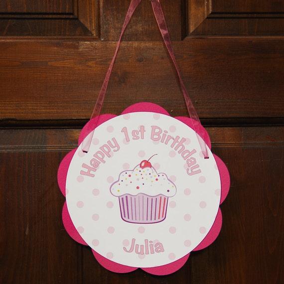 Cupcake Theme Door Hanger Happy Birthday Party Sign - Cupcake Birthday Party Decoration in Hot Pink and Purple