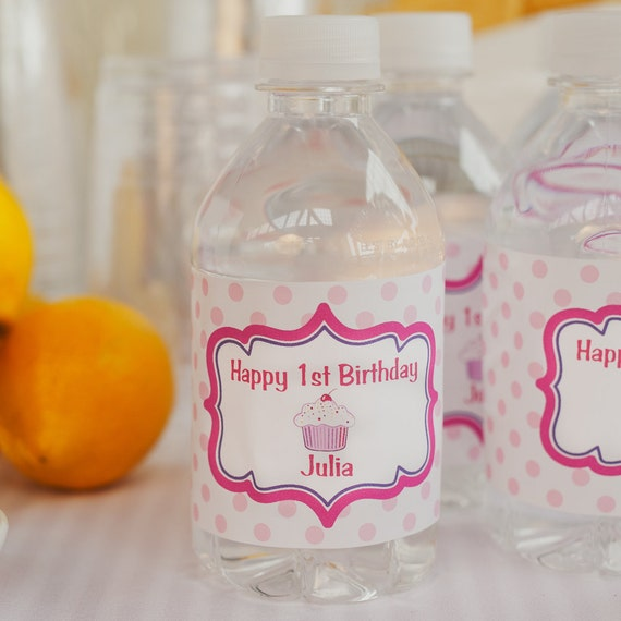 Water Bottle Labels - Birthday Party Decorations - Hot Pink & Purple Cupcake Decorations - Lil Cupcake Decorations (12)