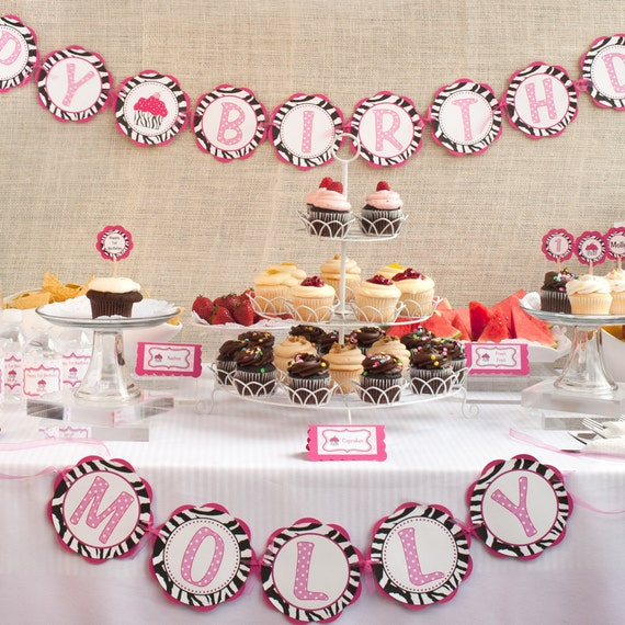 Zebra HAPPY BIRTHDAY Banner - Pink Zebra Cupcake Theme Birthday Party Decorations - Happy Birthday Banner