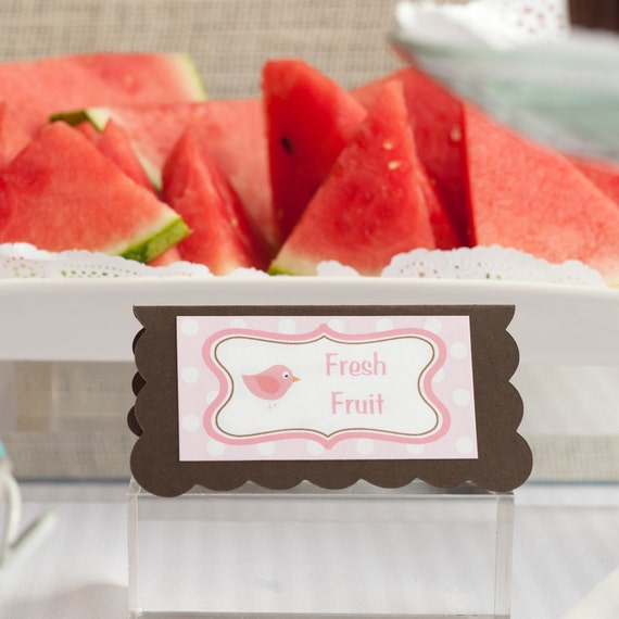 Birdie Theme Menu Cards - Food Tents -  Place Cards - Food Signs - Birthday Party Decorations in Pink & Brown (6)