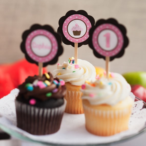 Cupcake Theme Cupcake Toppers, Happy Birthday Party Decorations in Pink and Brown