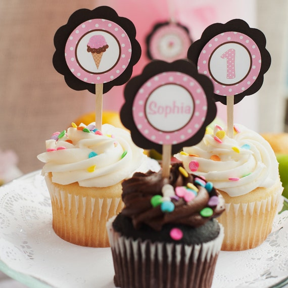 Ice Cream Cone Theme Cupcake Toppers - Sweet Shoppe Happy Birthday Party Decorations in Pink and Brown