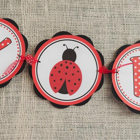 Ladybug Theme HAPPY BIRTHDAY Banner, Birthday Party Sign, Ladybug Birthday Party Decorations - Ladybug Party Supplies in Red & Black