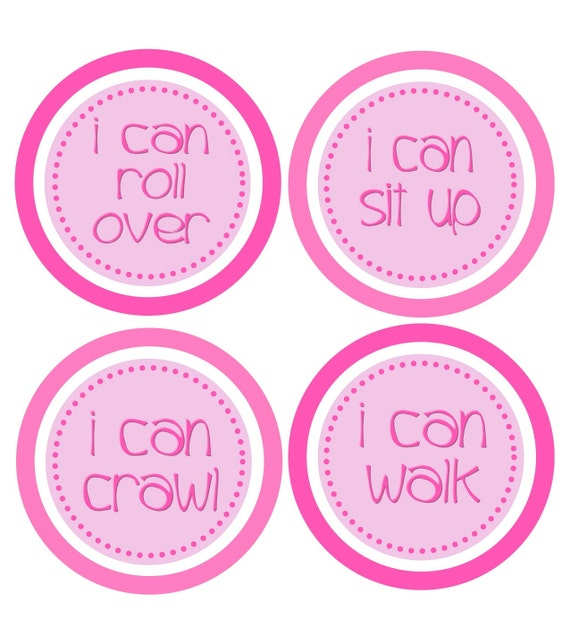 Baby Month Stickers Milestone Stickers Customize to Any Theme in My Shop Hot Pink Light Pink Stickers - Baby Girl Milestone Onesie Stickers