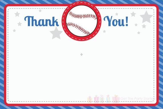 Baseball Thank You Note Baseball Thank You Card Digital