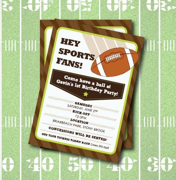 Football Birthday Party Invitation All Star Sports Party – Football Party Invite