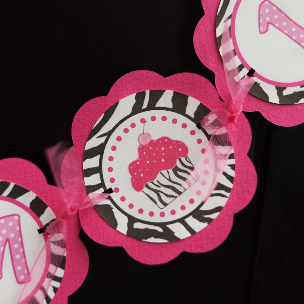 Cupcake Pink And Zebra I AM 1 Mini Banner By